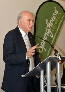 Vince Cable speaks at the Springhouse Employment Briefing